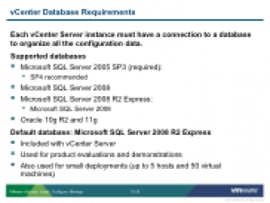 VSICM55 - Slide 13-20 - vCenter Database Requirements